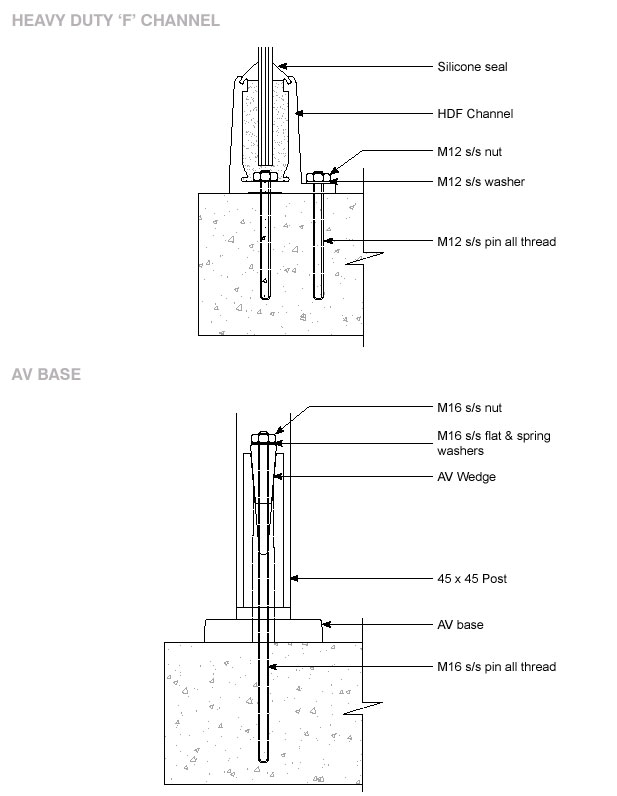 balustrade fixing details - balustrading fixings